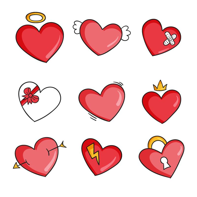 9个手绘风格的可爱爱心矢量素材(AI/EPS/免扣PNG)