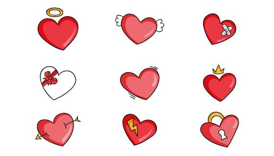 9个手绘风格的可爱爱心矢量素材(AI/EPS/PNG)
