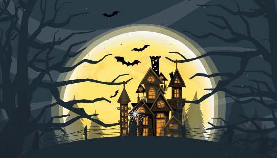月亮下的鬼屋设计万圣节背景矢量素材(EPS)