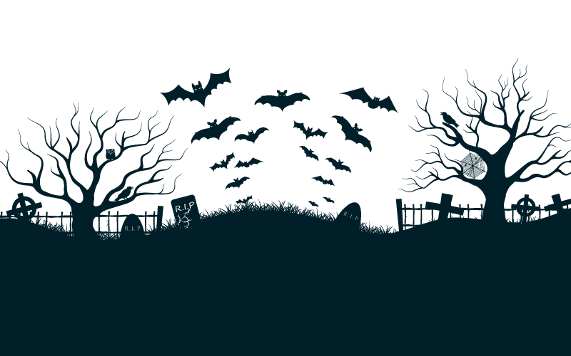 蝙蝠飞过墓地万圣节背景矢量素材(EPS)