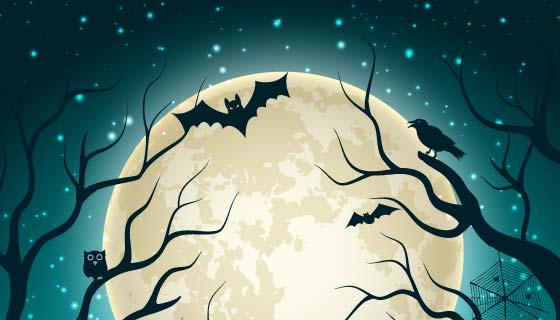 月亮蝙蝠墓地设计万圣节背景矢量素材(EPS)