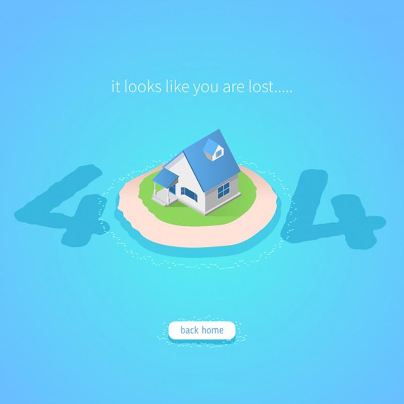 蓝色扁平风格404错误页面矢量素材(EPS/AI)