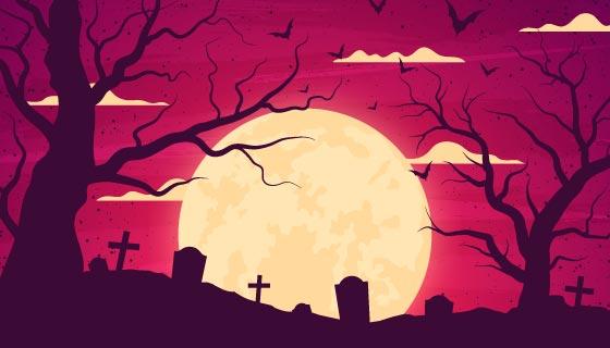 月亮下的墓地设计万圣节背景矢量素材(AI/EPS)