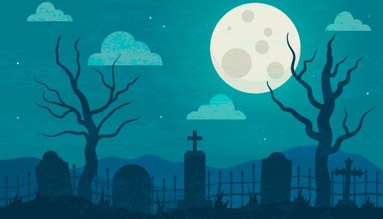 月亮下的墓地万圣节背景矢量素材(AI/EPS)