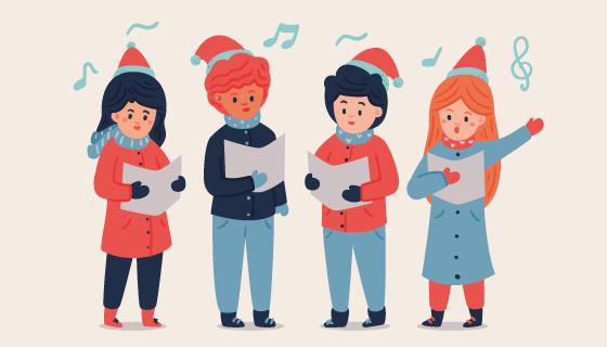 看着歌词唱歌的人们矢量素材(AI/EPS/PNG)
