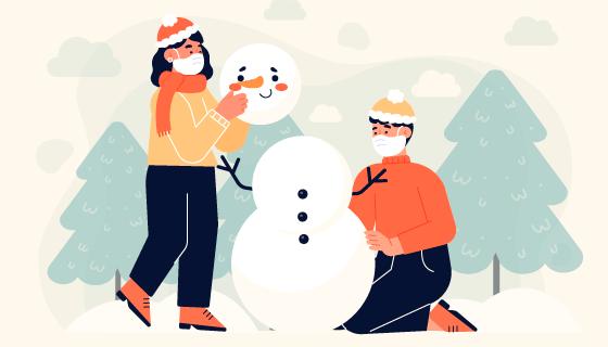 带着口罩堆雪人的人们矢量素材(AI/EPS)
