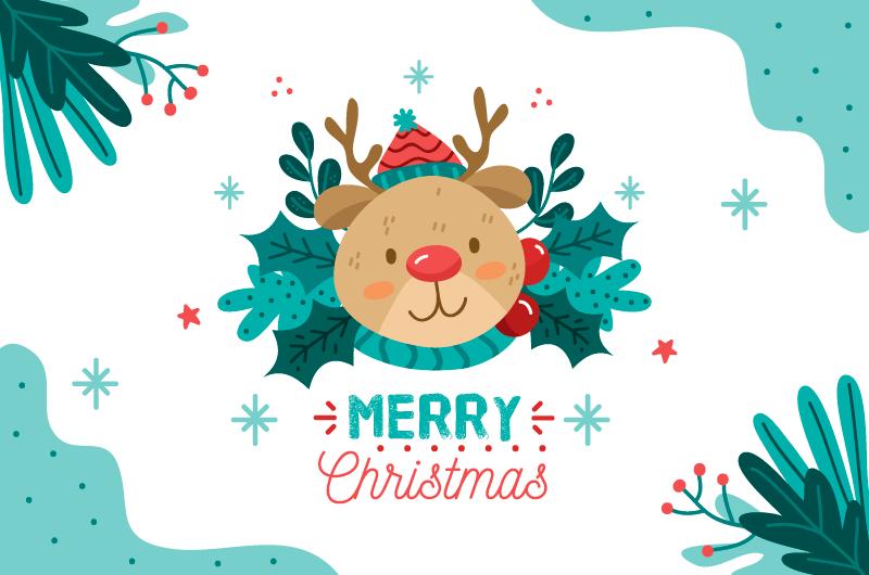 圣诞麋鹿设计圣诞节背景矢量素材(AI/EPS)