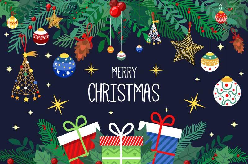圣诞装饰和礼物设计圣诞节背景矢量素材(AI/EPS)