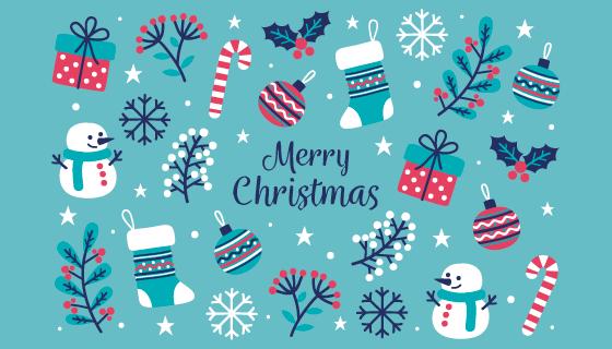 圣诞节装饰品设计圣诞节背景矢量素材(AI/EPS/PNG)