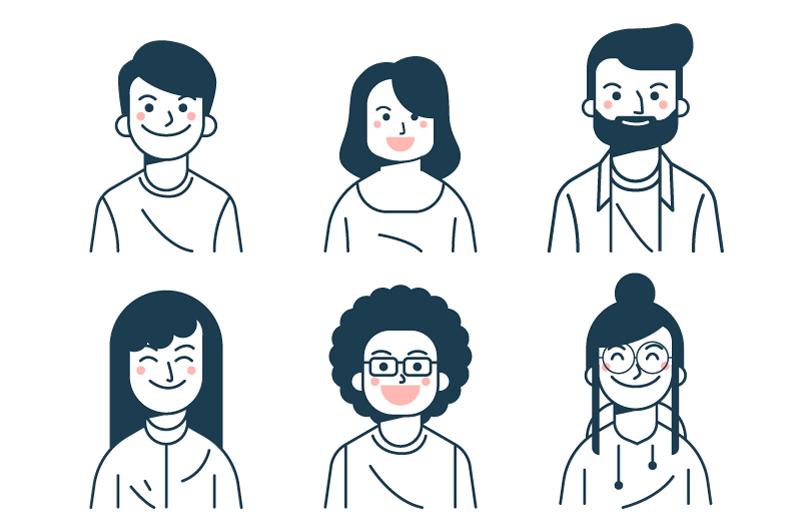 六个微笑的人物头像矢量素材(AI/EPS/免扣PNG)