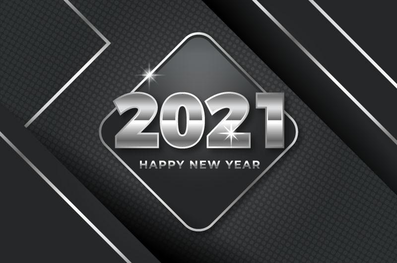 黑银色设计2021新年快乐矢量素材(AI/EPS)