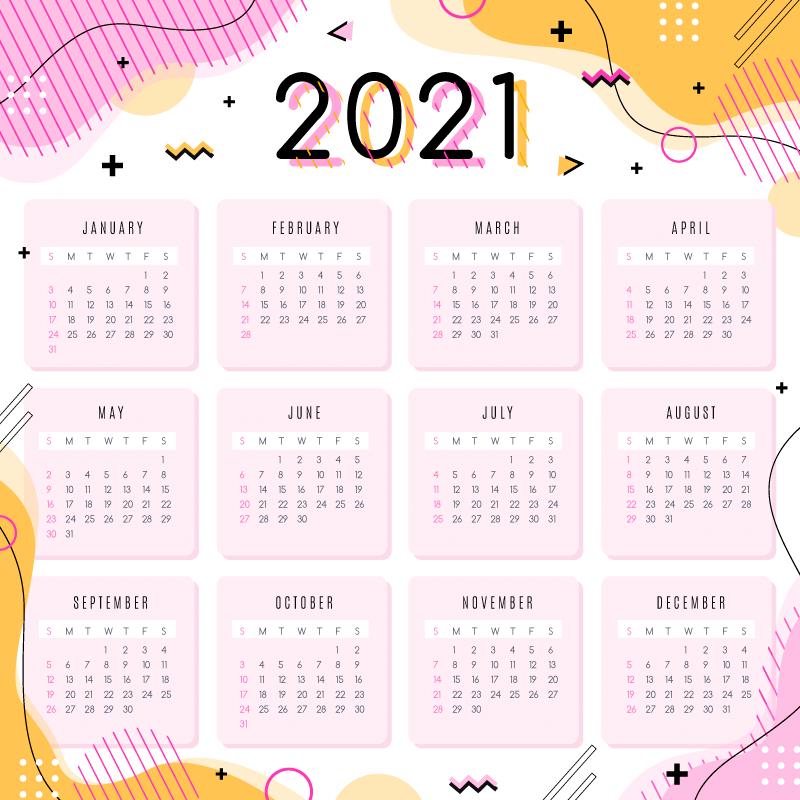 粉色抽象设计的2021年日历矢量素材(AI/EPS)