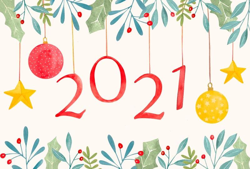 水彩装饰2021新年快乐背景矢量素材(AI/EPS)