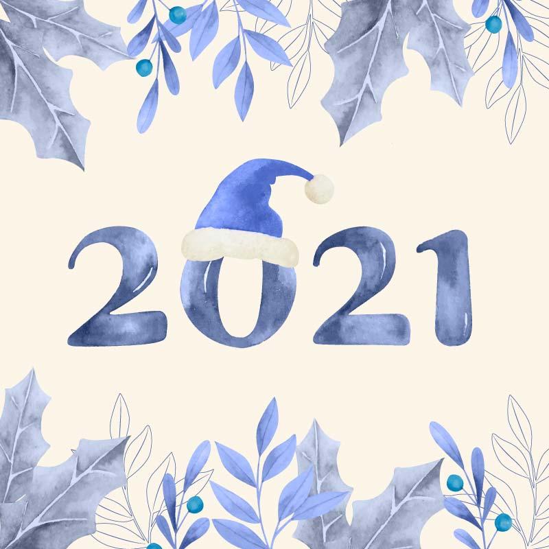 蓝色圣诞帽2021新年快乐背景矢量素材(AI/EPS)