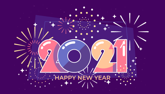 简单的烟花2021新年快乐背景矢量素材(AI/EPS)