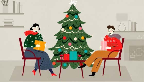 正在开心享受圣诞节的人们矢量素材(AI/EPS)