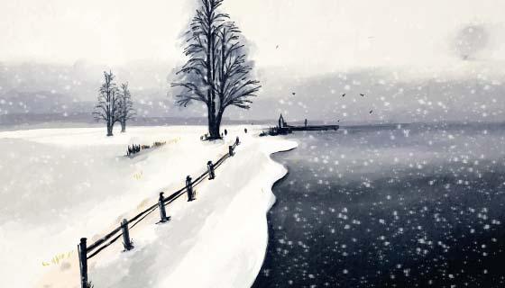 下雪的冬天景色矢量素材(AI/EPS)