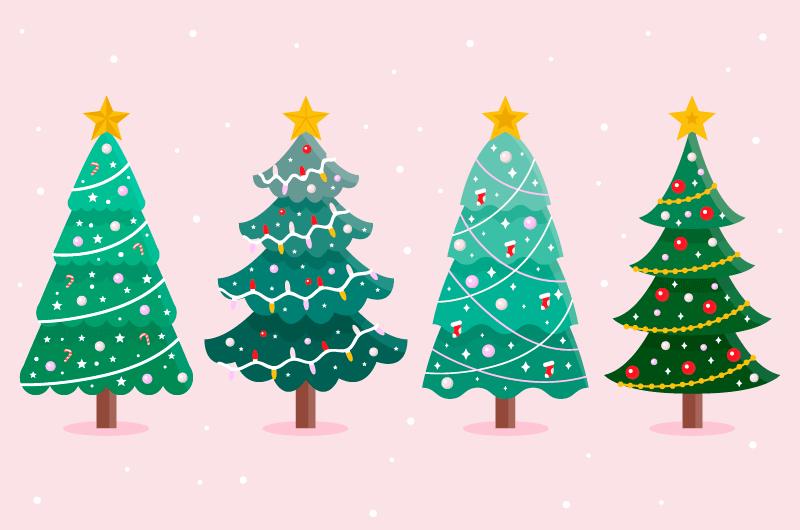 四棵漂亮的圣诞树矢量素材(AI/EPS)