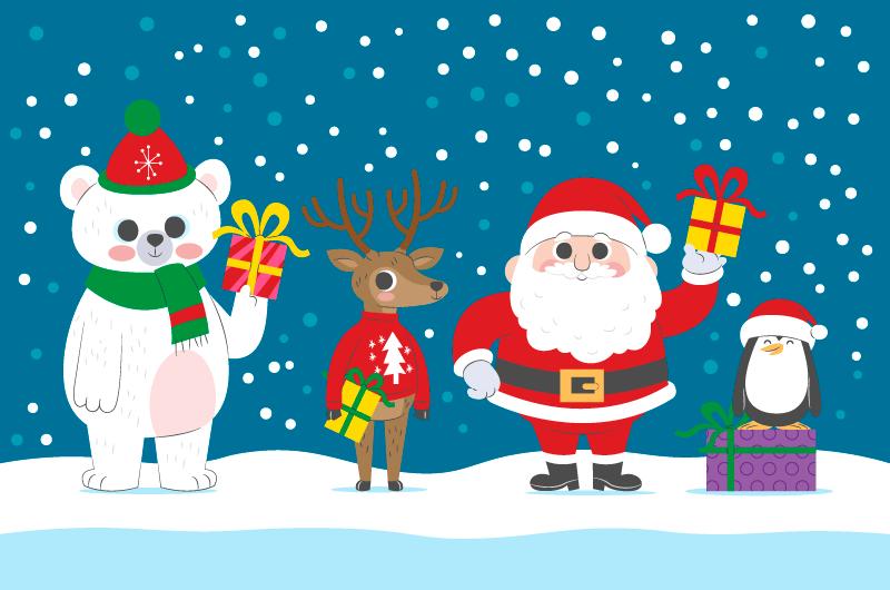 圣诞老人和其他三位可爱的圣诞人物矢量素材(AI/EPS)