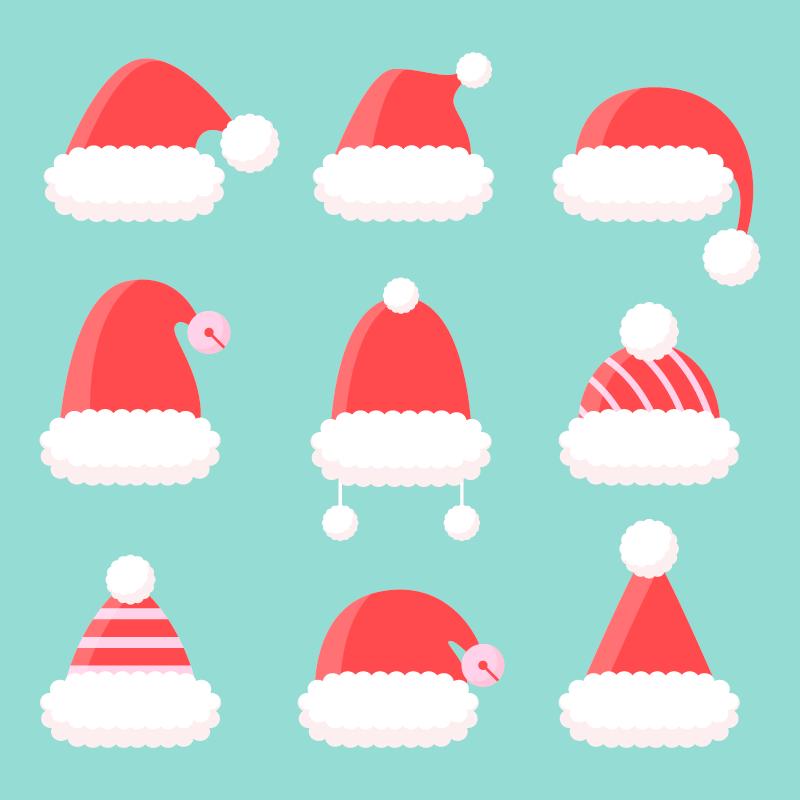 九顶可爱的圣诞帽矢量素材(AI/EPS/免扣PNG)