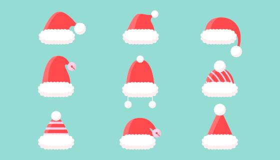 九顶可爱的圣诞帽矢量素材(AI/EPS/PNG)