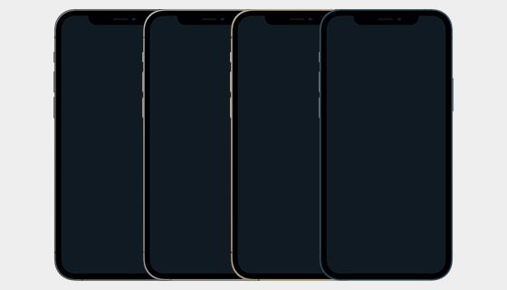 四种颜色iPhone 12 Pro模型矢量素材(Sketch)