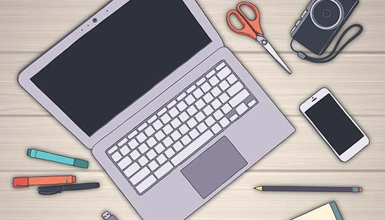 手绘设计工作空间背景矢量素材(EPS/AI)
