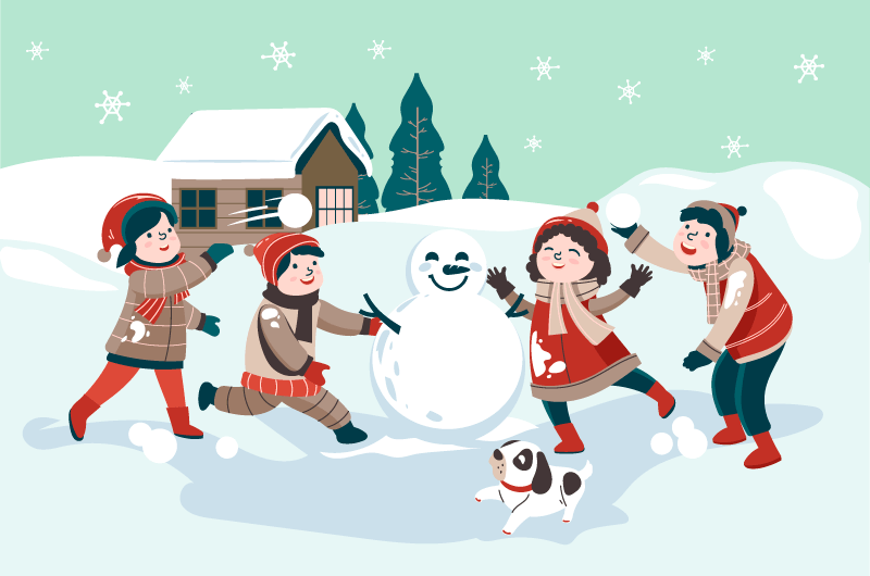 孩子们在雪地里打雪仗矢量素材(AI/EPS)
