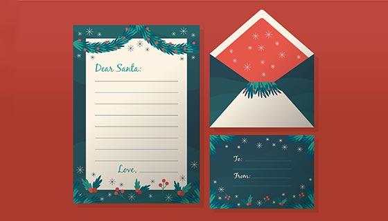 漂亮的圣诞节信封信纸明信片矢量素材(AI/EPS)