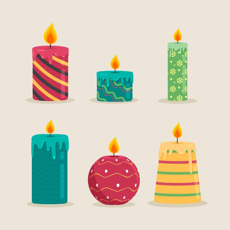 六种漂亮的圣诞蜡烛矢量素材(AI/EPS/免扣PNG)