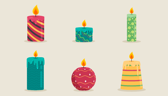 六种漂亮的圣诞蜡烛矢量素材(AI/EPS/PNG)