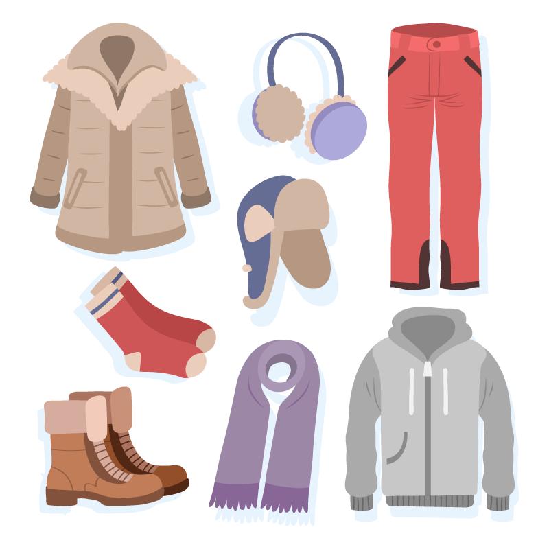 扁平风格的冬天衣物矢量素材(AI/EPS/免扣PNG)