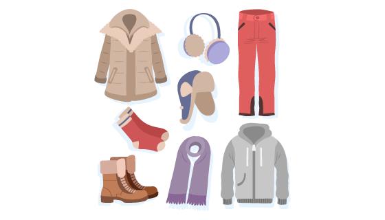 扁平风格的冬天衣物矢量素材(AI/EPS/PNG)