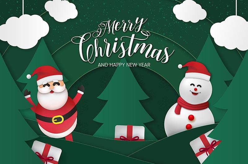 圣诞老人和雪人设计圣诞节快乐贺卡矢量素材(EPS)