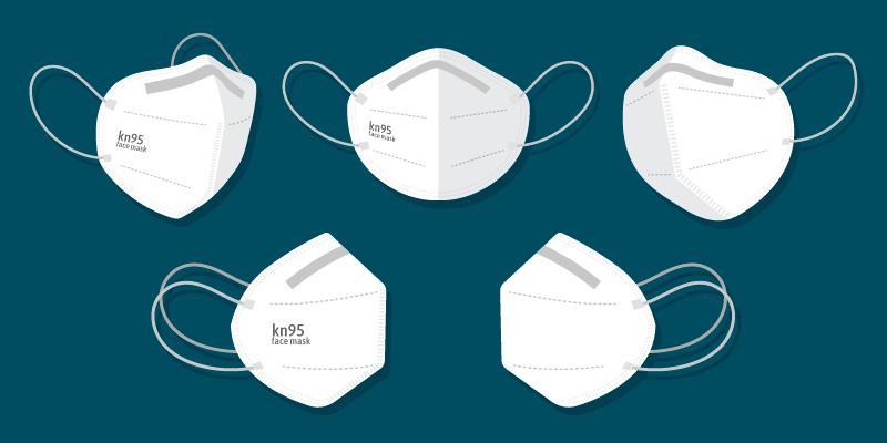 扁平风格不同视角的KN95口罩矢量素材(AI/EPS/免扣PNG)