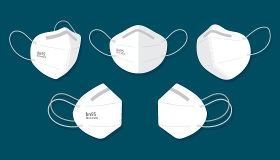 扁平风格不同视角的KN95口罩矢量素材(AI/EPS/PNG)
