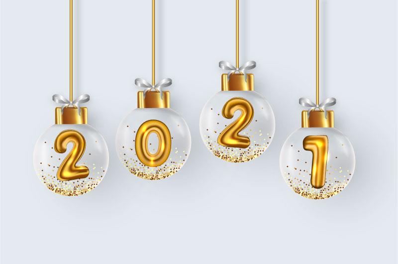 金色圣诞球设计2021新年快乐矢量素材(EPS)