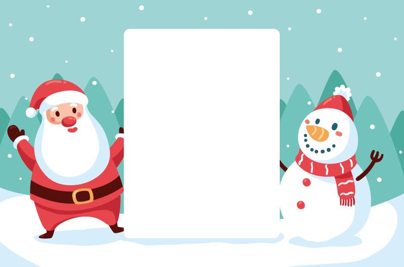圣诞老人和雪人设计留言白板矢量素材(AI/EPS)
