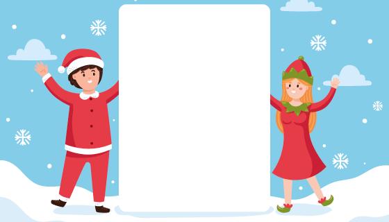 雪地里的年轻人设计留言白板矢量素材(AI/EPS)