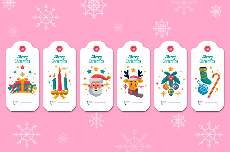 六个圣诞销售标签矢量素材(AI/EPS)