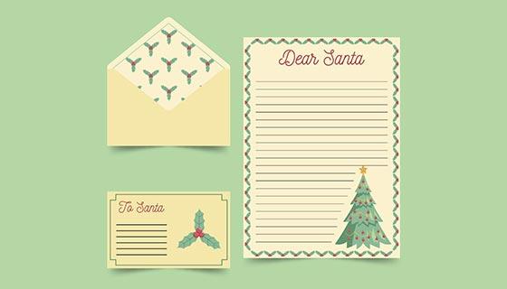 复古风格圣诞节信封信纸矢量素材(AI/EPS)