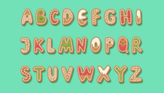 圣诞姜饼风格英文字母矢量素材(AI/EPS/PNG)
