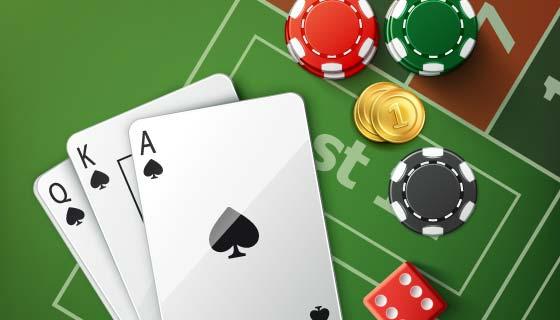 赌场扑克牌筹码骰子矢量素材(EPS)