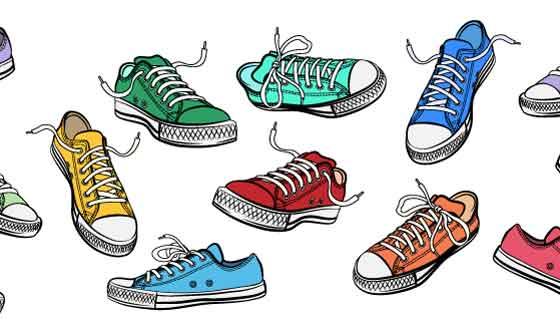 多彩的平板鞋矢量素材(EPS)