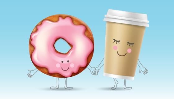 笑着脸牵手的甜甜圈和咖啡杯矢量素材(EPS)