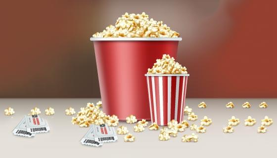 逼真的爆米花和电影票矢量素材(EPS)