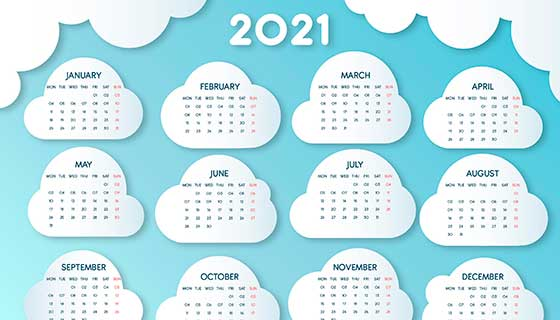 云朵设计2021年日历矢量素材(AI/EPS)