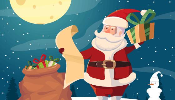 拿着礼物清单的圣诞老人矢量素材(EPS)