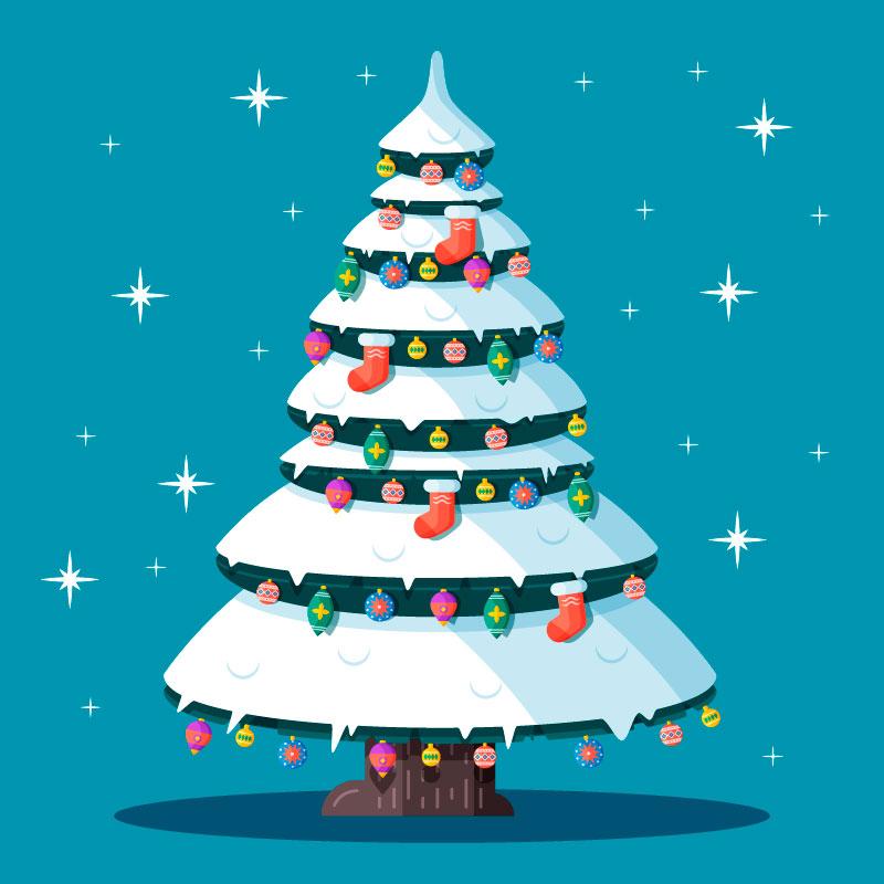 挂满装饰品的圣诞树矢量素材(AI/EPS/免扣PNG)