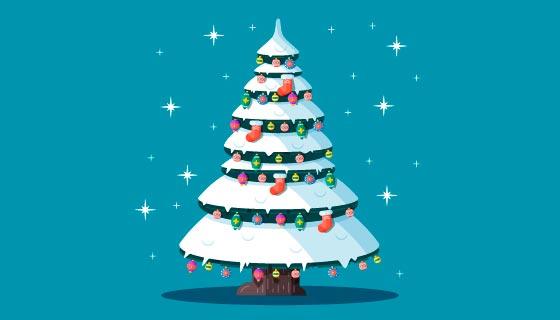 挂满装饰品的圣诞树矢量素材(AI/EPS/PNG)